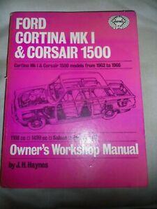 Haynes-Ford-Cortina-Mk1-Corsair-1500-Manual-1962-66-Vintage-Hardbacker-inc-gt