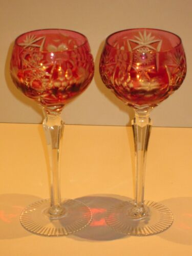 PAIR Nachtman Nachtmann Traube Ruby Cranberry Crystal Wine Hock Goblets Glasses