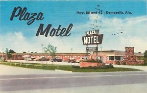 Demopolis Alabama Plaza Motel Front View Cars 1957 Linen
