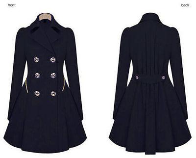 Fashion Women Long Parka Coat Lapel Neck Outwear Winter Warm Trench Jacket Coats