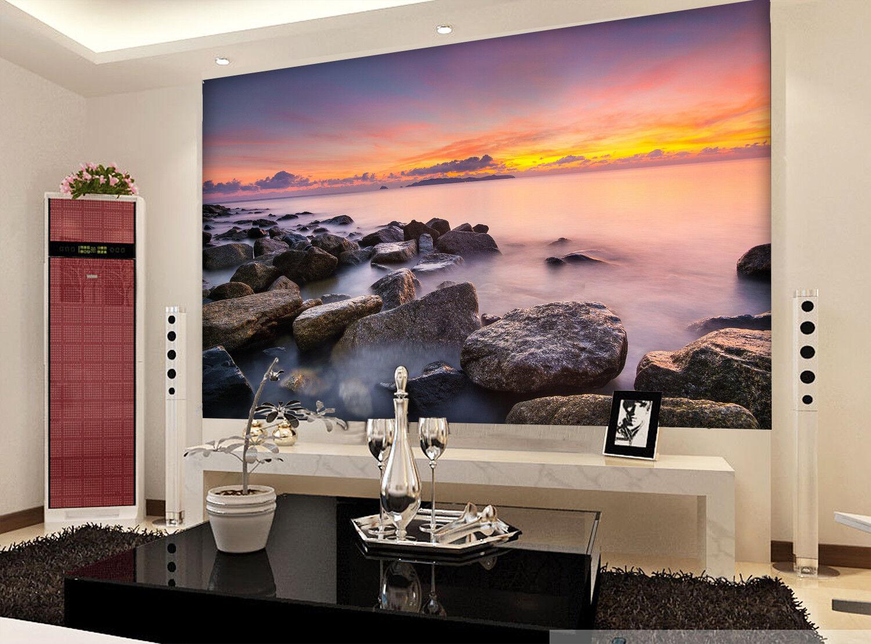 3D Sunset Stone Sea 8 Wall Paper Murals Wall Print Wall Wallpaper Mural AU Kyra
