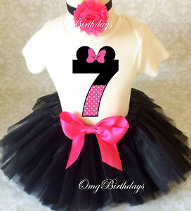 Image Is Loading Minnie Mouse Pink Black Dot Girl 7th Birthday