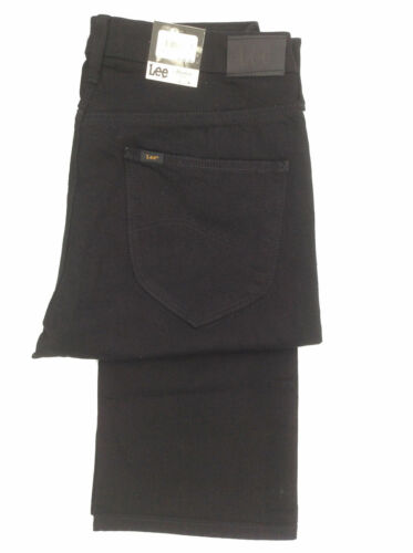 Mesdames LEE MARION Mid taille Coupe Droite X Long Jambe Jeans Stretch-Noir