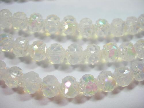 25  5x6mm Czech Glass Milky White Luster Iris Rosebud beads