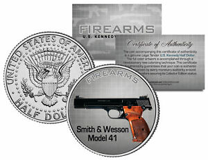 SMITH-amp-WESSON-MODEL-41-Gun-Firearm-JFK-Kennedy-Half-Dollar-US-Colorized-Coin
