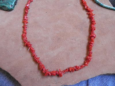"""Coral Beads Necklace 18"""" Navajo"""