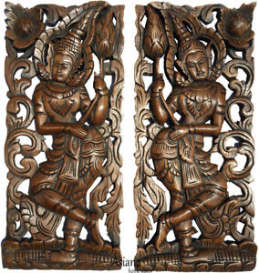 Details About Welcome Sign Carved Wood Wall Art Panels Asia Home Decor Set Of 2 Brown