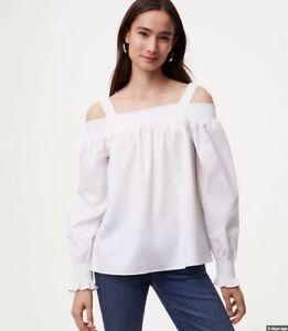 d8aa9b2891764 NWT Ann Taylor LOFT Smocked White Off The Shoulder Blouse Top  59.50 ...