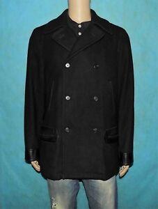 manteau-caban-RALPH-LAUREN-en-laine-et-cuir-noir-taille-L-tres-bon-etat