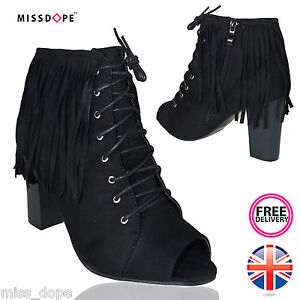 NEW-BLACK-TASSEL-LADIES-FRINGED-OPEN-TOE-ANKLE-WOMENS-HIGH-BLOCK-HEEL-LACE-SHOES