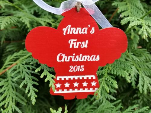 Wooden Christmas personalised tree ornament Bauble First Christmas Angel Star