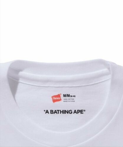 A BATHING APE Men/'s Goods HANES 3P T-Shirts Crewneck White Best Buy Japan New