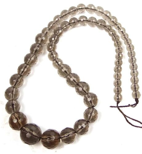 5-13mm Natural Smoky Quartz Graduated Faceted Round Beads 17/""