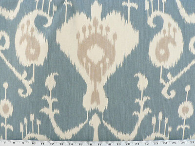 Drapery Upholstery Fabric 6 oz. 100% Cotton Ikat - Tan, Ivory on Gray-Blue