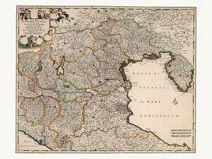 Old Antique Decorative Map of Venice Parma Modena Italy de Wit ca. 1682