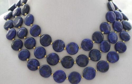 "Naturel 12 mm coin bleu lapis lazuli perles collier 36/' /""AAA"