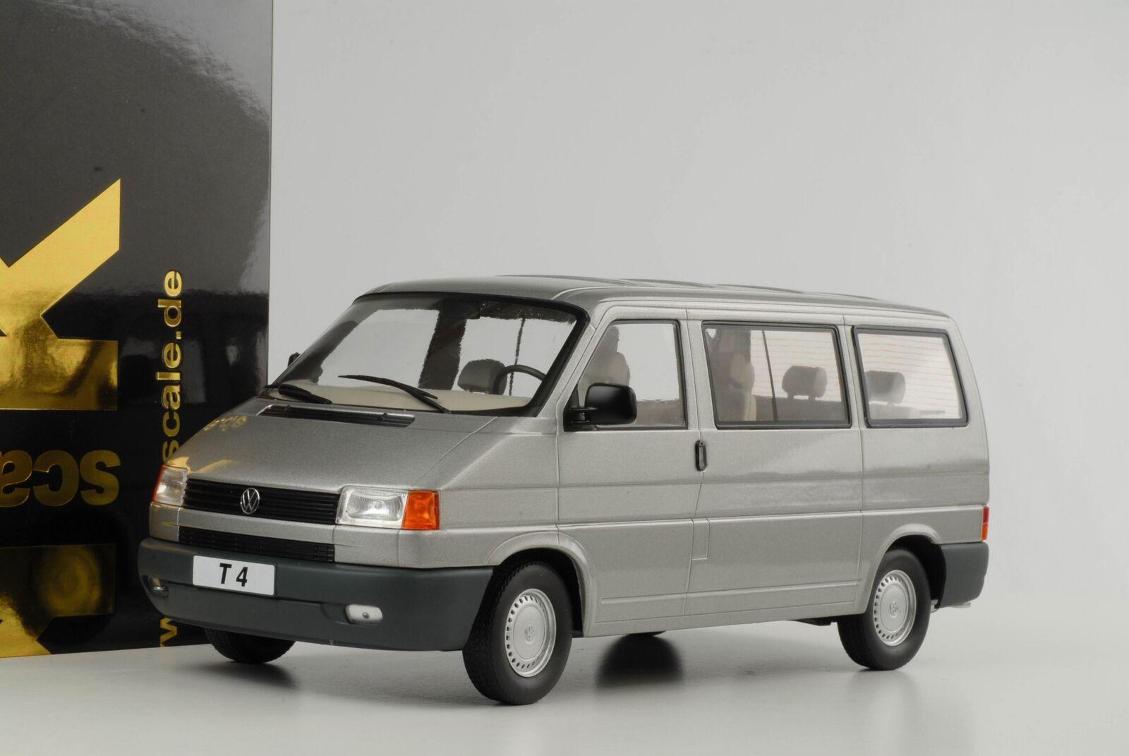 T4 VW Volkswagen Bus Caravelle 1992 Silver Grey Metallic Diecast 1 18 Kk New