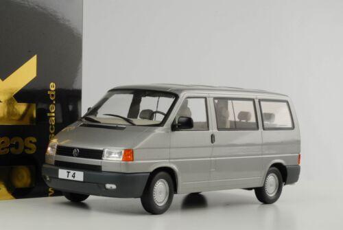 T4 VW VOLKSWAGEN BUS CARAVELLE 1992 GRIGIO ARGENTO METALLIZZATO DIECAST 1:18 KK NUOVO