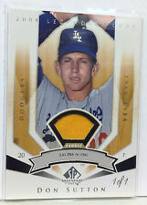 DON SUTTON 2004 UPPER DECK SP LEGENDARY CUTS GAME USED JERSEY FABRIC #1/1 RARE