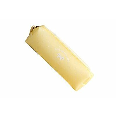 Trousse à crayons, trousse scolaire en silicone gel série bonbon pastel (Jaune)