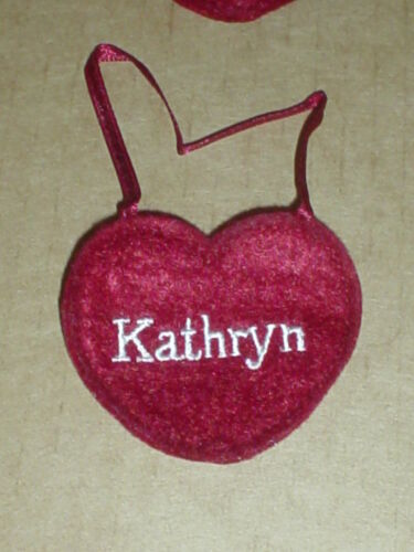 """Ornamen Ganz  NEW Red Felt Name  Embroidered  /"""" KATHRYN/"""" Heart  Craft Patch"""