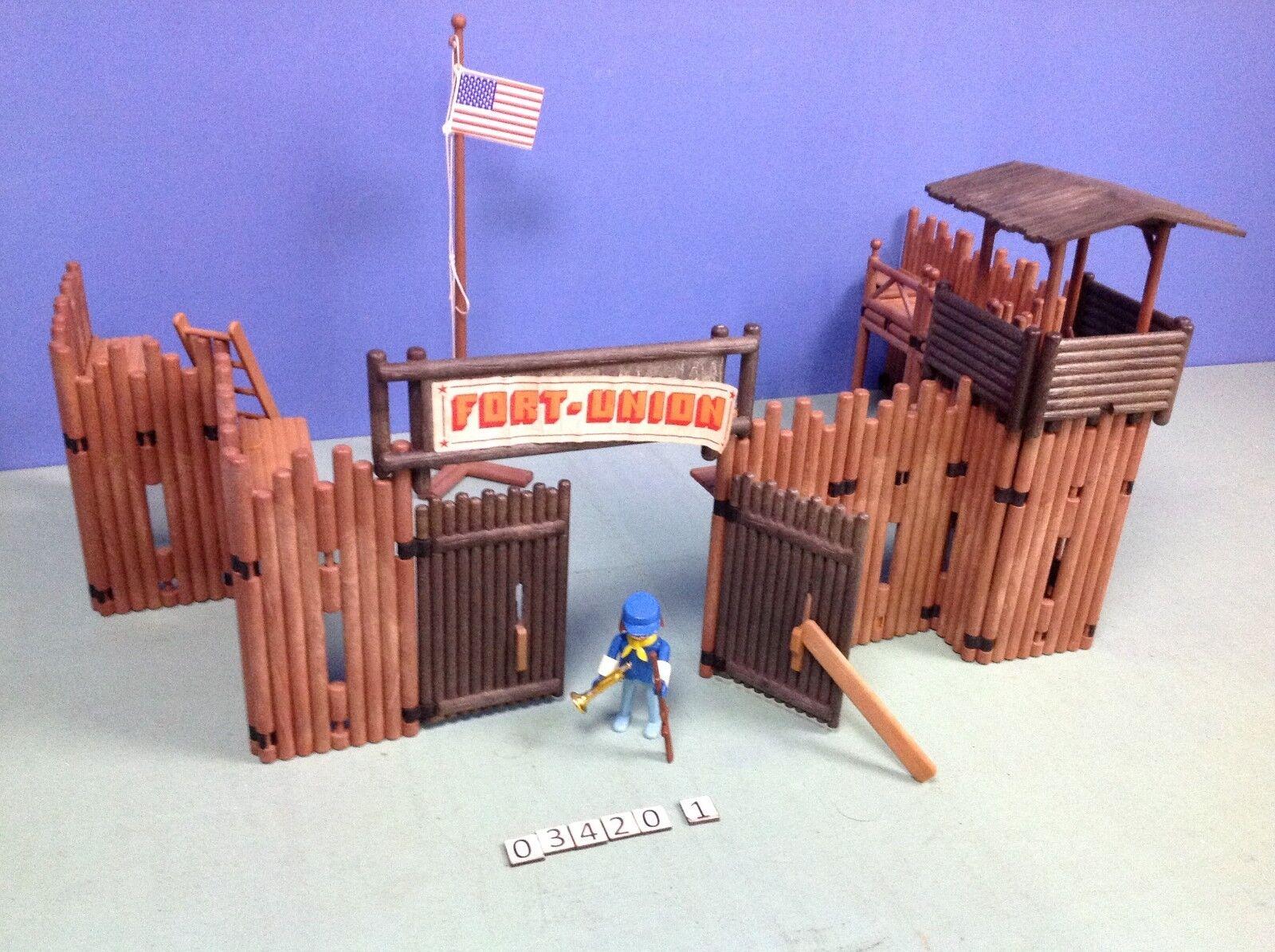 (O3420.1) (O3420.1) (O3420.1) Playmobil Fort Union western ref 3420 klicky année 76 - 81 8209ca