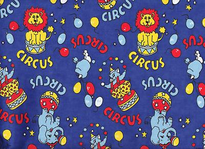 per metre Royal Blue Circus Nursery Flannelette Fabric 108cm Wide