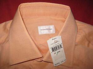 $295 ERMENEGILDO ZEGNA COTTON DRESS SHIRT 15/38 SOLID PEACH NEW