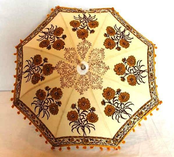 Indian Block Printed Cotton Garden Umbrella Parasol Outdoor Sun Shade Hippie