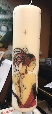ART DECO CHIC LADY In Red HAND DECORATED PILLAR CANDLE HIBISCUS SCENT 13x6cm