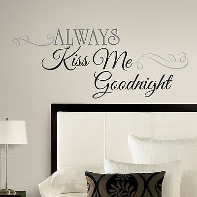 New Large ALWAYS KISS ME GOODNIGHT WALL DECALS Bedroom Stickers Deco Home Decor