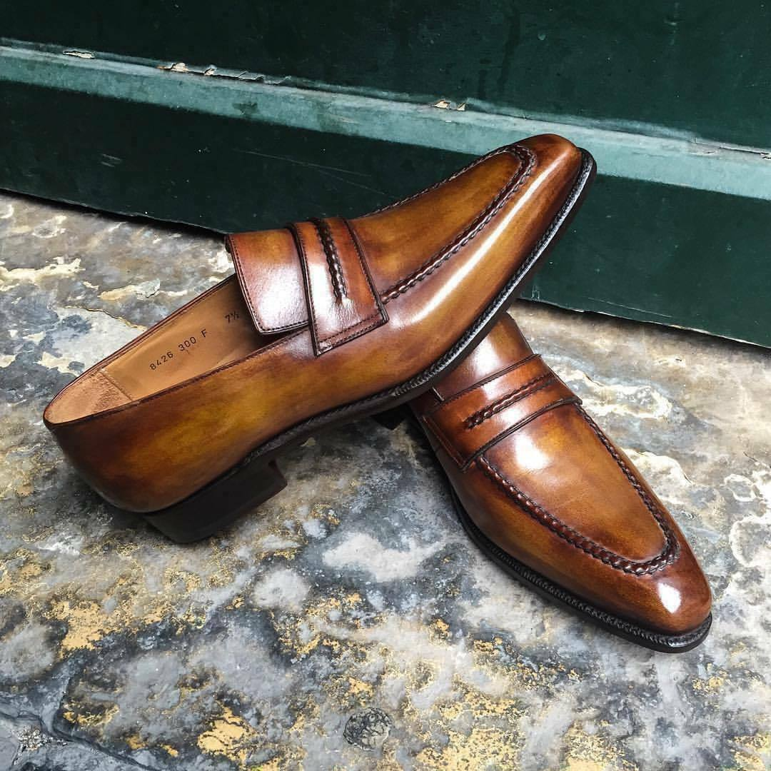 Mens Handmade Shoes Tan Brown Leather Formal Dress Casual Wear Slip On Boots New