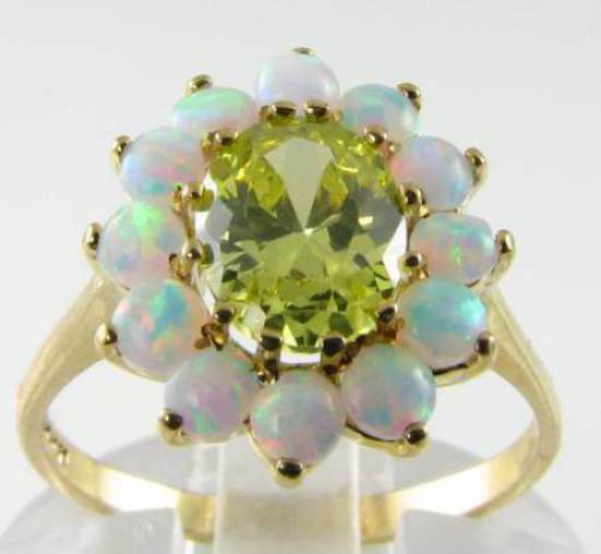 CLASSIC 9K 9CT gold PERIDOT  OPAL LARGE CLUSTER ART DECO INS RING FREE RESIZE