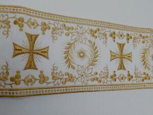 Orphrey-Vintage-Croce-Design-Color-Oro-su-Bianco-Bendaggio-11-4cm-Larghezza-0-9m
