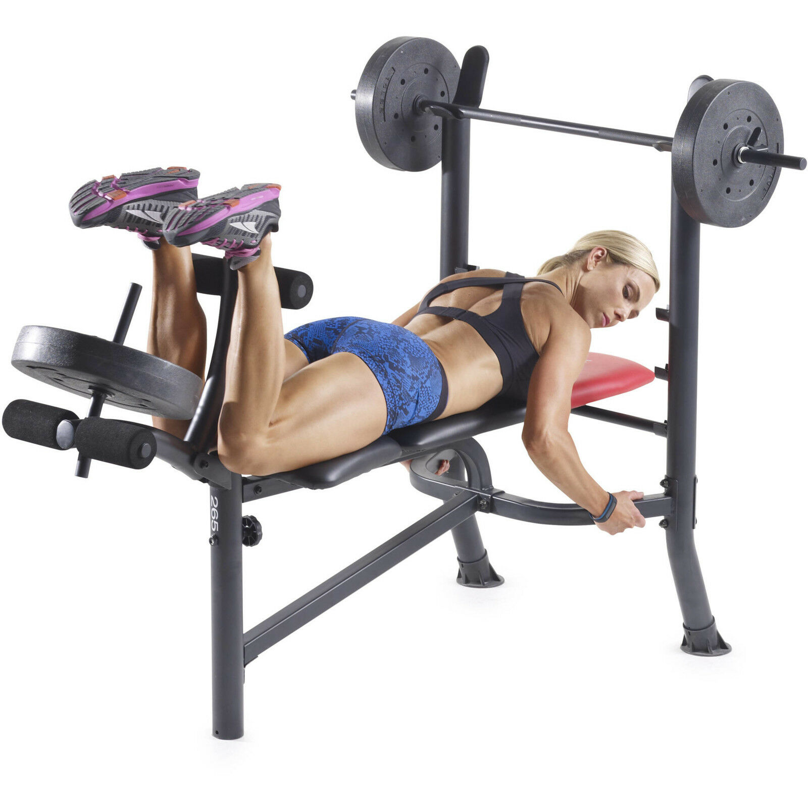 Weider Pro 265 Standard Bench with 80 Lb. Vinyl Weight  Exercise Set Lifting New  fast shipping and best service