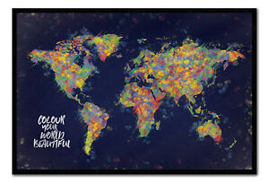 Colour your world beautiful map poster framed cork pin board with image is loading colour your world beautiful map poster framed cork gumiabroncs Image collections