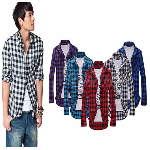 New Fashion Mens Stylish Classic Plaid Check Slim Casual Long Sleeve Shirt