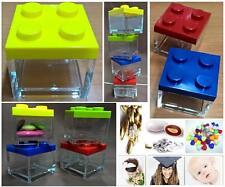 N.4 SCATOLA PLEXIGLASS Cm.5x5x5H PORTA CONFETTI TIPO MATTONCINO LEGO 4 COLORI