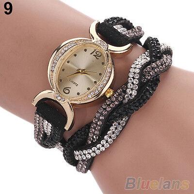 Women's New Classic Two Tone Rhinestone Wrap Faux Suede Bracelet Wrist Watch