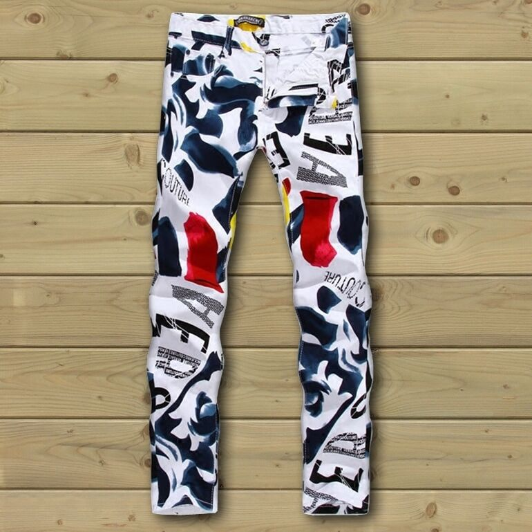 US men fashion new white letters floral printed casual pants trousers size 28-44