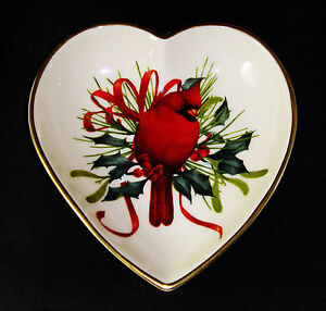 Lenox Winter Greetings Cardinal Heart Candy Dish Porcelain ...