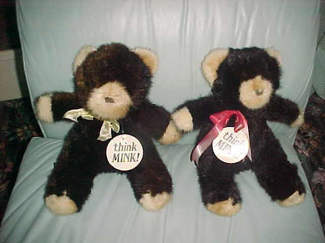 2 REAL MINK STUFFED TEADY BEARS schwarz