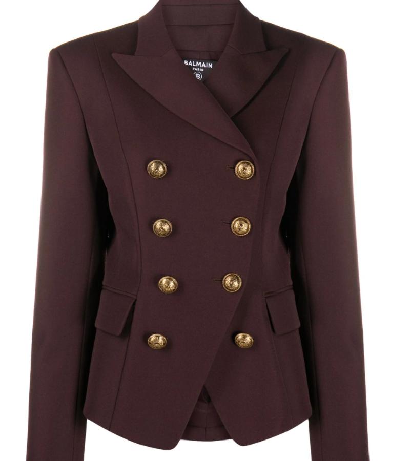 NEW BALMAIN Brown Grain De Poudre 8-Button Jacket
