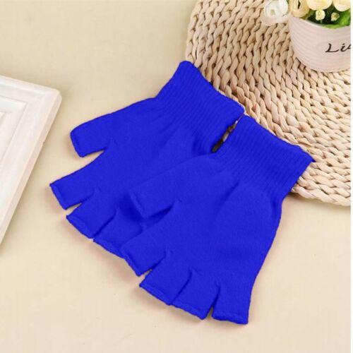 Women Men Winter Glove Fingerless Knitted Crochet Half-Fingers Adult Warm Mitten