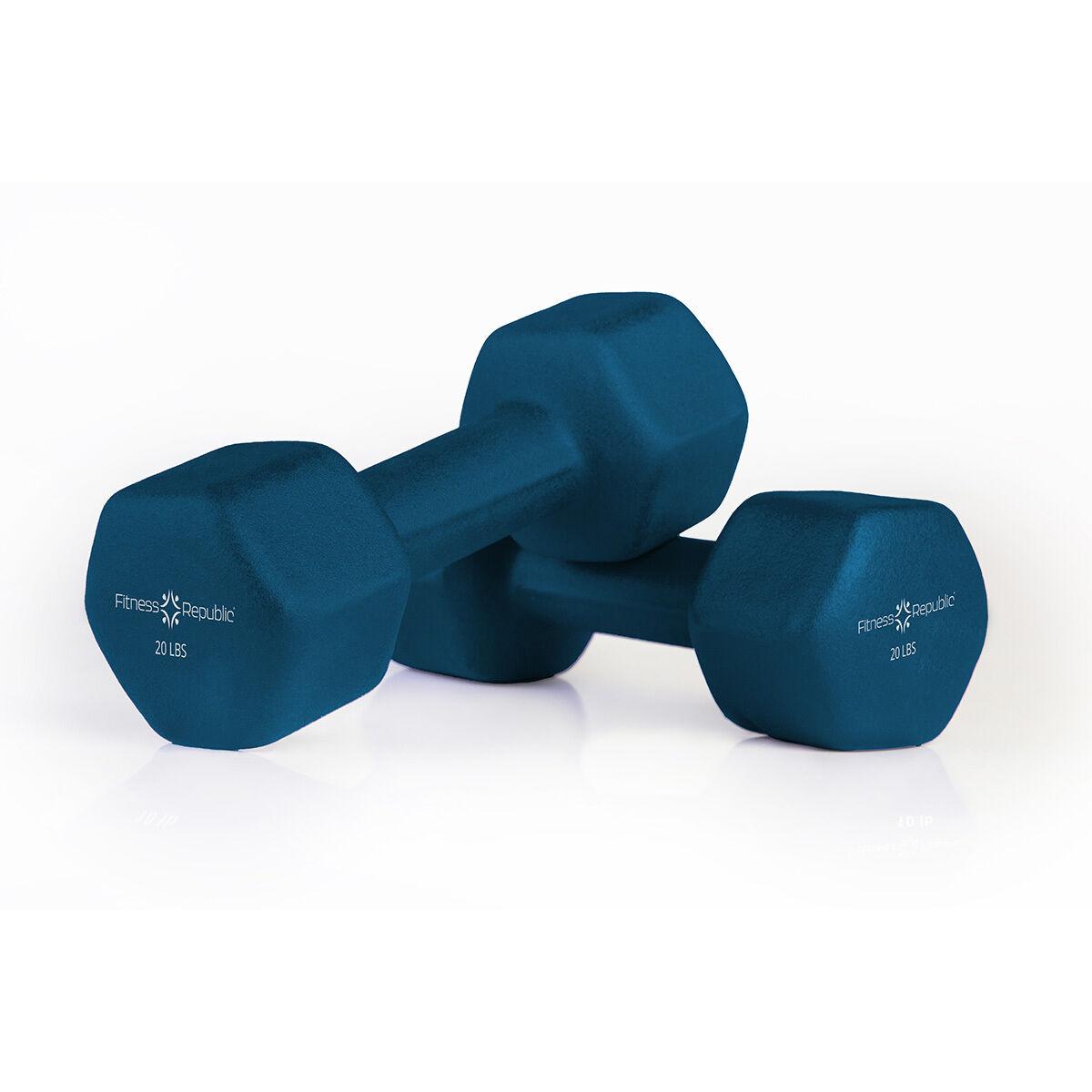 Fitness Republic Neoprene Dumbbells 20 lbs Set (Neoprene Weights)
