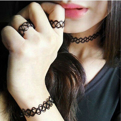 Fashion Vintage Stretch Tattoo Choker Necklace Set Retro Gothic Punk Elastic