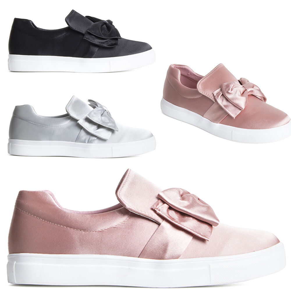 Womens Ladies Front Bow Detail Satin Trainers Plimsoll Size Shoes Slip On Shoe Size Plimsoll dcfc34