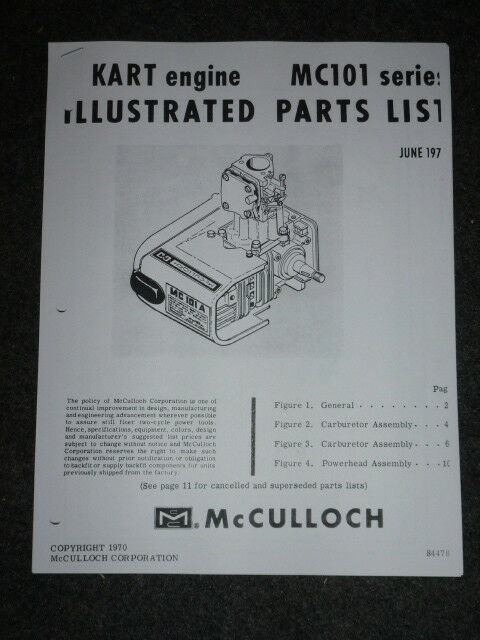 Race Go Kart Vintage 1970 McCulloch MC 101 Illustrated Parts List 84478  Mc101