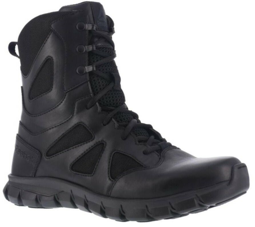 Reebok RB8806 Men's 8  Side-Zip Soft Toe Cushioned WP Black Tactical Light Boots