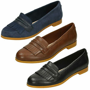 Mujer Flequillos Clarks Clásico Cierres Plano Sin Cuero Andora Zapatos Mocasines dx4Z4R